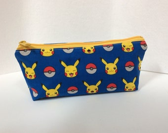 Pencil pouch/ Makeup bag mad using pokemon/ piccachu fabric