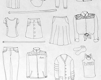 Clothing Print, DIY Print, Downloadable Print, Livingroom Decor, Dorm Decor, Fashion Print, Print, Digital Prints