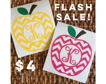 FLASH SALE!! Single Initial Chevron Apple Decal - Teacher Appreciation - only Four Dollars! Limited Quantity