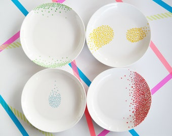 Set of Four Ceramic plates with coloured dots design