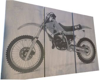 Dirt bike / Motorcycle / Bike Print Wood Painting / Wall Art on Stained Solid BIRCH 3/4 inch thick Gift for Him / Her