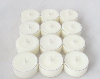 12 unscented tealight candles, 1 dozen tealights, white tealights, unscented tea lights, unscented tea candles, unscented candles