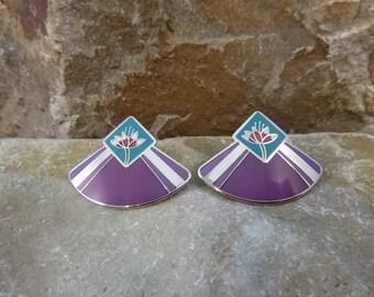 Laurel Burch Water Lily Vintage Cloisonné Style Enamel Post Earrings for Pierced Ears