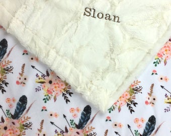 Baby blanket, Minky blanket, floral blanket feather blanket, adult cuddle blanket, baby shower gift birth, girl blanket personalized blanket