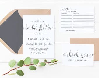 Fun Bridal Shower Invitation and or Recipe and Thank You Card Printed OR Digital Print Yourself