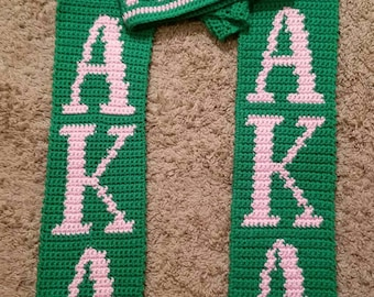 Crocheted Fraternity/ Sorority Hat and Scarf