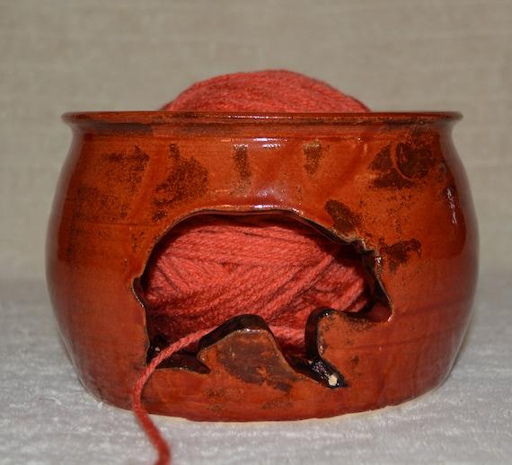 Bear Yarn Bowl, Burnt Orange, Knitting, Crochet, Yarn, Rustic, Wildlife, Stoneware, Ceramic,