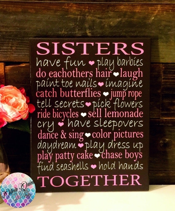 Sisters Quote Girls Room Decor Art Print By Oliviaquinncouture