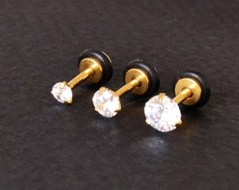 Gold Flat Back Stud Earring 16g Cartilage Earring Flat Back Tragus Stud 16g Cartilage Upper Lobe Piercing Outer Conch Earring Zircon