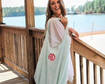 Monogrammed Hobo Bag, Large Hobo Bag, Personalized Beach Bag, Extra Large Bag With Monogram