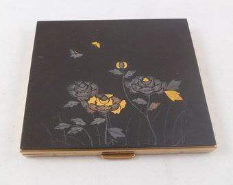 Vintage New Unused Schildkraut Black Floral Etched Compact