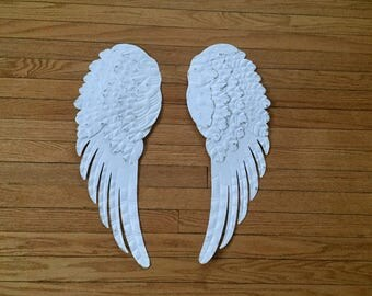 Large Angel wings,  metal shabby chic white, hand painted, wall decor, nursery decor, metal, angelic decor