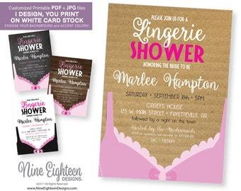 Bridal Lingerie Shower INVITATION with pink bra. Customed invitation PDF and JPG. Easy to print!