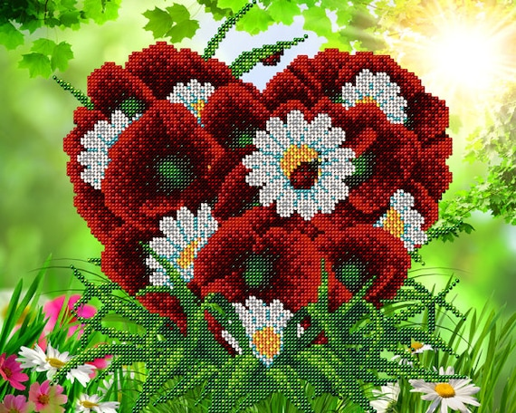 A Heart of Flowers DIY bead embroidery kit Needlepoint beading Beaded painting set House warming Wedding Valentine's gift idea