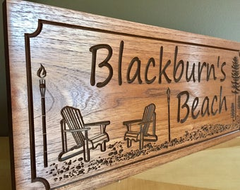 Outdoor Beach House Sign, Adirondack Chairs, Tiki Torches, Sand, Lake House Signs, Welcome Signs, Trees, Ocean, Lakehouse Sign, Cottage Sign