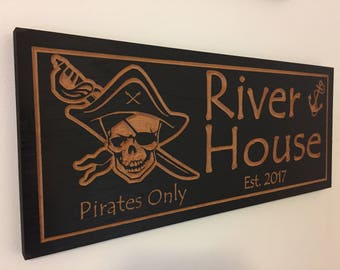 Outdoor Carved Signs, Pirates of the Caribbean, Skull, Outside signs, Nautical Decor, Beach House Signs, Boat Dock, Anchor, Pirates only
