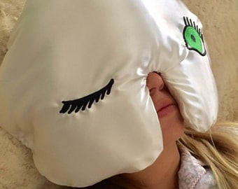 Winkzzz Sleep Mask Pillow in Ivory with Blue, Brown, or Green Eye