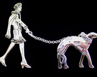 Silver Brooch Woman Walking Dog