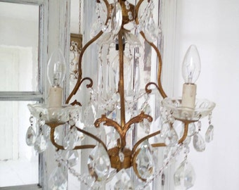 Murano 4bulb beaded cage italian Chandelier crystal brass vintage antique swag chain french cottage drops 50s Marie Therese style