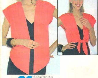 """McCalls 6594, Sz 10-12/Bust 32.5-34"""".   Cap Sleeve front Tie Top/EveningWrap/Shrug can be made out of wovens or knit, Fast 90 Minute pattern"""