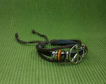Brown Peace Bracelet - Silver Tone Peace Sign Bracelet - Brown Leather Bracelet -Peace and Love Bracelet-Brown Braid Bracelet Peace Symbol