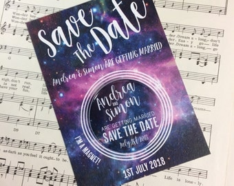 Wedding Save The Date Magnets Galaxy/ Space Inspired Design (Complete With Backing Postcard)