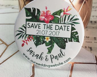 Wedding Save The Date Magnets - Floral Tropical Palm Leaf Design Complete With Organza Bags (59mm)