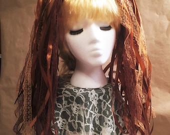 """Ribbon 'Dread' Pair Hair Falls 20"""" Brown"""