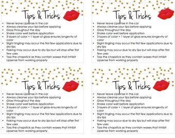 LipSense Printable Tips and Tricks Gold Dots Red INSTANT DOWNLOAD