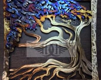 Wind Swept Oak Tree Large Metal Wall Art