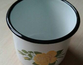 Vintage enamelled metal cup,Enamel mug,Soviet vintage, Soviet Souvenir, USSR