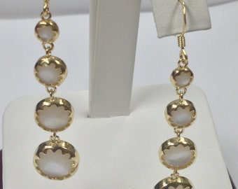 Mother of Pearl Dangle Earrings 925 Sterling Silver Gold Plated