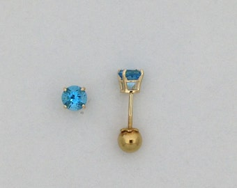 Natural Blue Topaz Stud Earrings Solid  14kt Yellow Gold Screwback Post