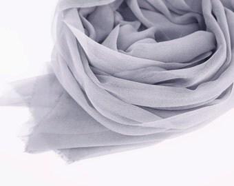 Pastel Gray Silk Scarf, Whisper Light Gray Scarf, Cool Gray Gauze Wrap, Minimalist Gray Shawl Wrap, Spring Summer, Lightweight Shawl