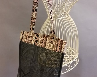 Mesh Tote. African Print. Brown, Black and White Bag with Long Shoulder Straps. Project, Market or Beach Bag. From MDS Creative.