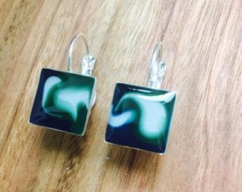 Square Silver Earrings -  Green & Blue. Modern Dangle Earrings