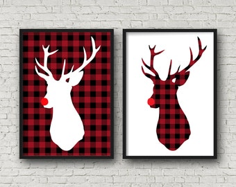 Holiday Wall Art - Deer Set of 2 - 8x10 Sign - Instant Download