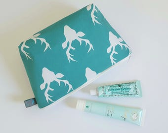 Stag Head Cosmetic Bag in Turquoise, waterproof lining
