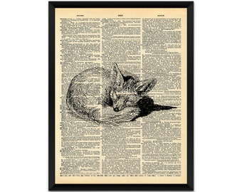 Picture, print, sleeping fox on a dictionary page wall art, illustration, poster,wall decor, A4, A3