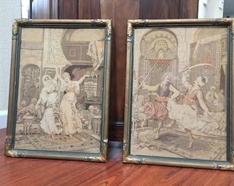 Antique Gesso Framed Tapestry Dancing