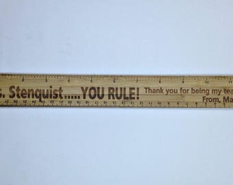 Personalized Laser Engraved Bamboo Ruler