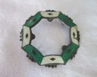 Antique Victorian Sterling Silver & Beautiful Enameled Brooch Needs Attention