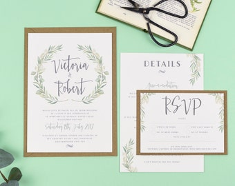 Watercolour Greenery Eucalyptus Wedding Invitations