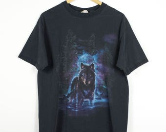 90s black faded wolf t shirt - vintage