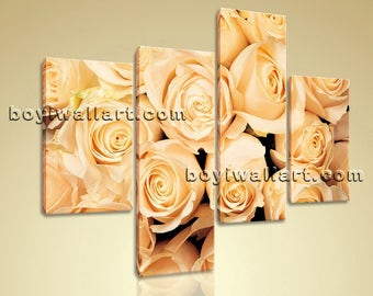 Large Floral Hd Print Rose Flower Wall Decor Living Room Four Pieces Giclee, Large Rose Flower Wall Art, Living Room, Tequila