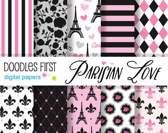 Parisian Love Digital Paper Pack Includes 10 for Scrapbooking Paper Crafts