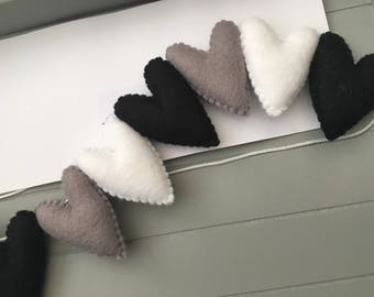 Black, grey & white heart garland
