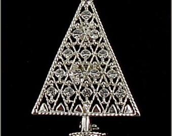 Eisenberg Ice Christmas Tree Pin Silver Tone with Clear Rhinestones Christmas Tree Pin  (Inventory #J883)