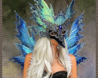 Adult Fairy Wings and Mask**RTS**Iridescent Blue/Silver**FREE SHIPPING**Costume/Masquerade/Weddings