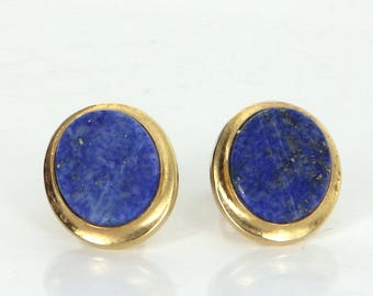 Oval Lapis Lazuli Stud Earrings Vintage 14 Karat Yellow Gold Estate Fine Jewelry